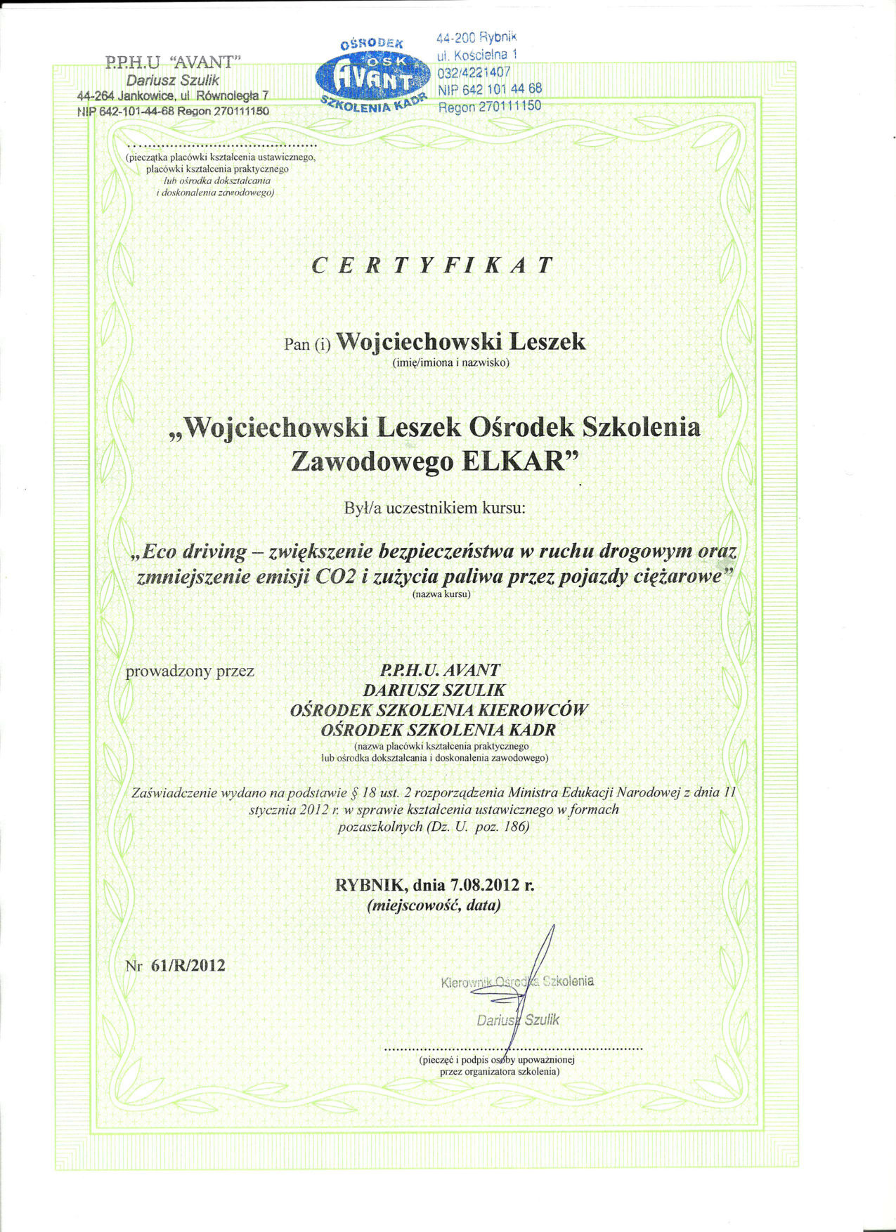Certyfikat - Avant