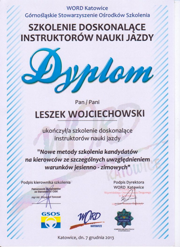 Dyplom WORD Katowice